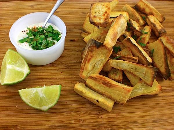 Patates douces avec sauce gingembre et citron vert
